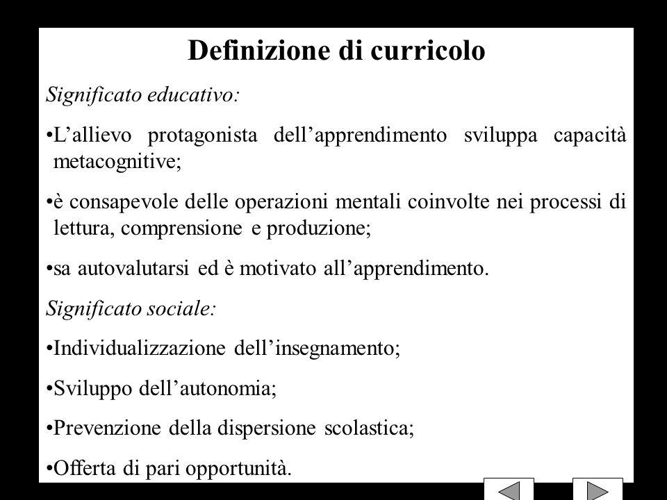 Definizione di curricolo