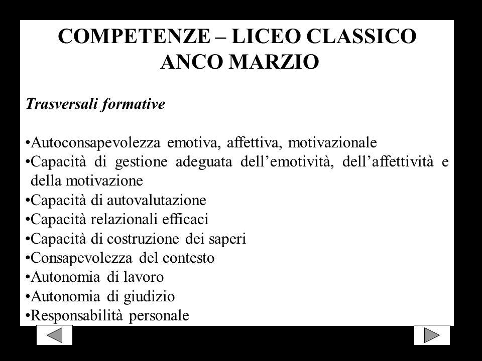 COMPETENZE – LICEO CLASSICO ANCO MARZIO