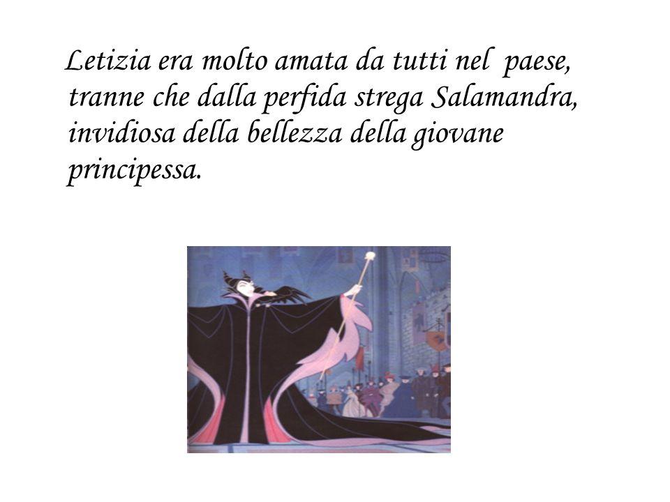 Letizia era molto amata da tutti nel paese, tranne che dalla perfida strega Salamandra, invidiosa della bellezza della giovane principessa.