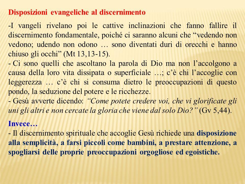 Disposizioni evangeliche al discernimento
