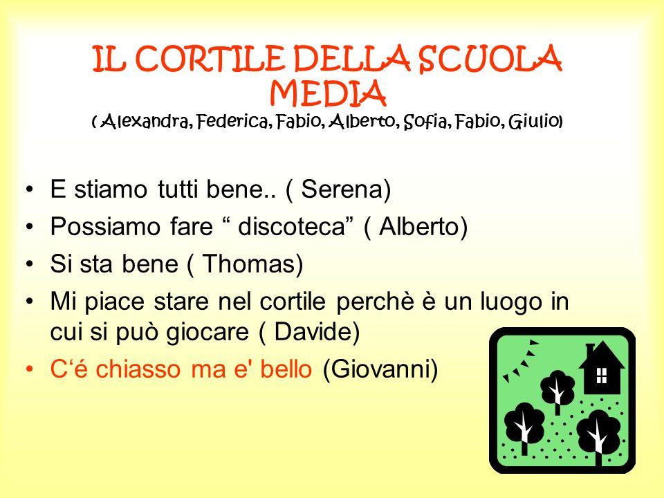 IL CORTILE DELLA SCUOLA MEDIA ( Alexandra, Federica, Fabio, Alberto, Sofia, Fabio, Giulio)