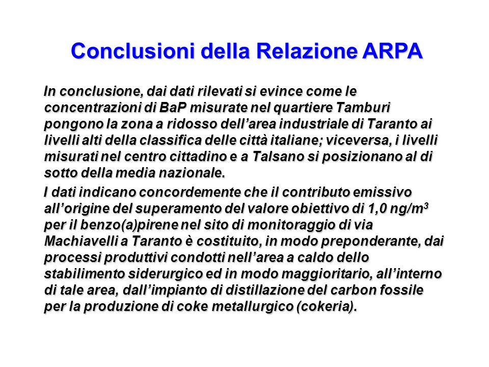 Conclusioni della Relazione ARPA