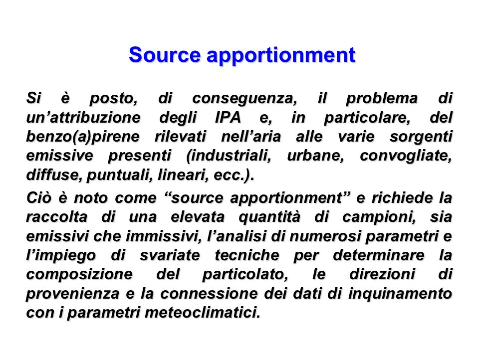 Source apportionment