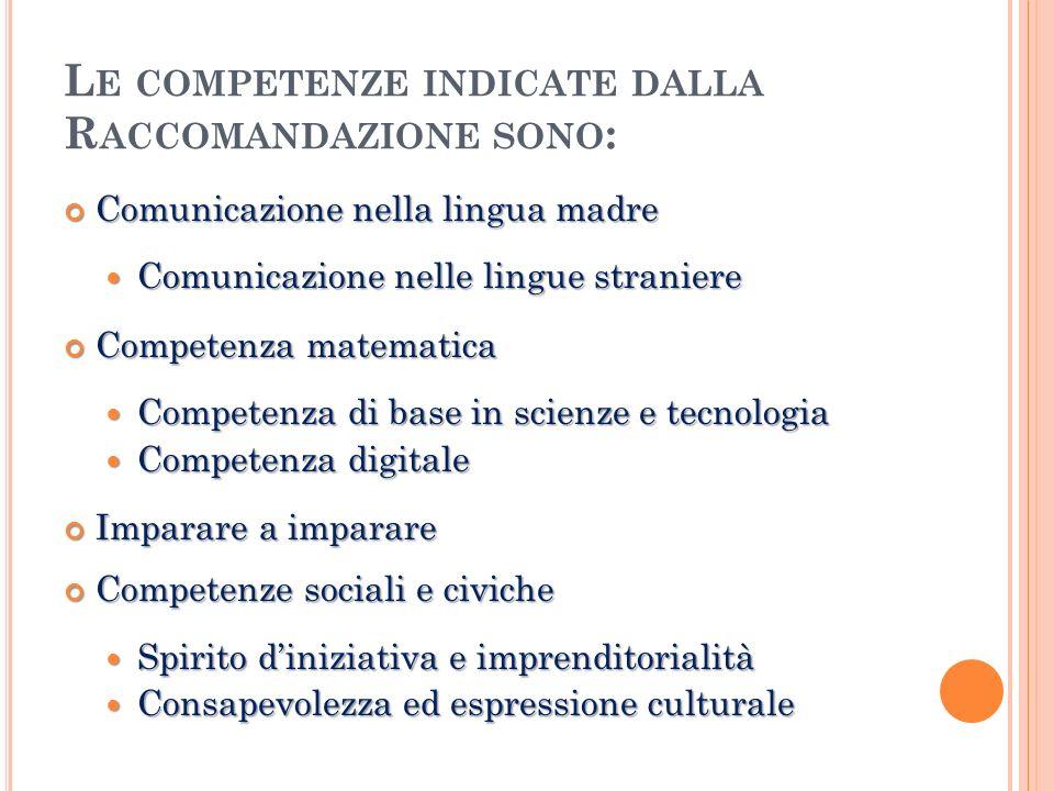 Le competenze indicate dalla Raccomandazione sono: