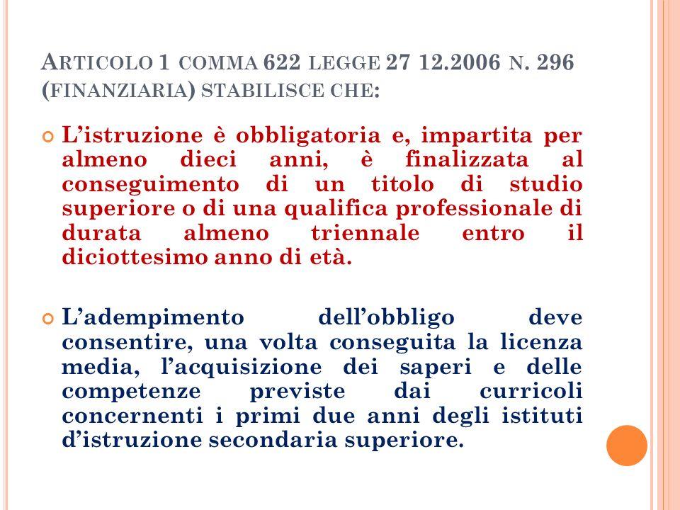 Articolo 1 comma 622 legge 27 12.2006 n. 296 (finanziaria) stabilisce che:
