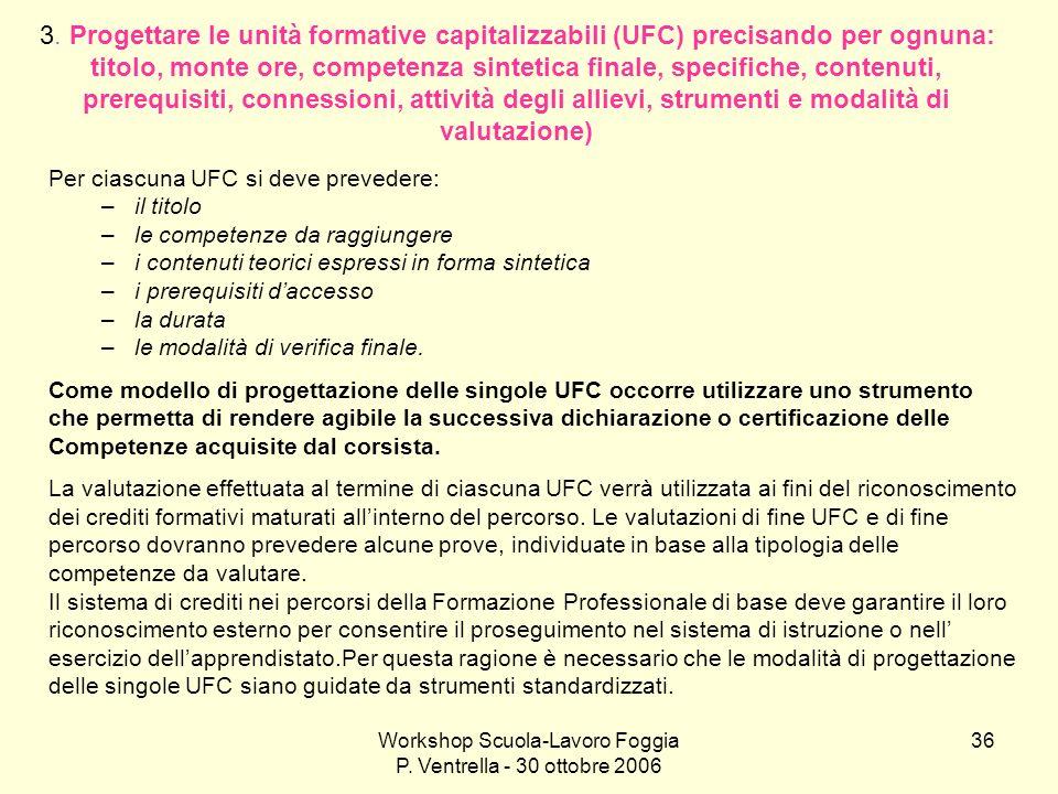 Workshop Scuola-Lavoro Foggia P. Ventrella - 30 ottobre 2006
