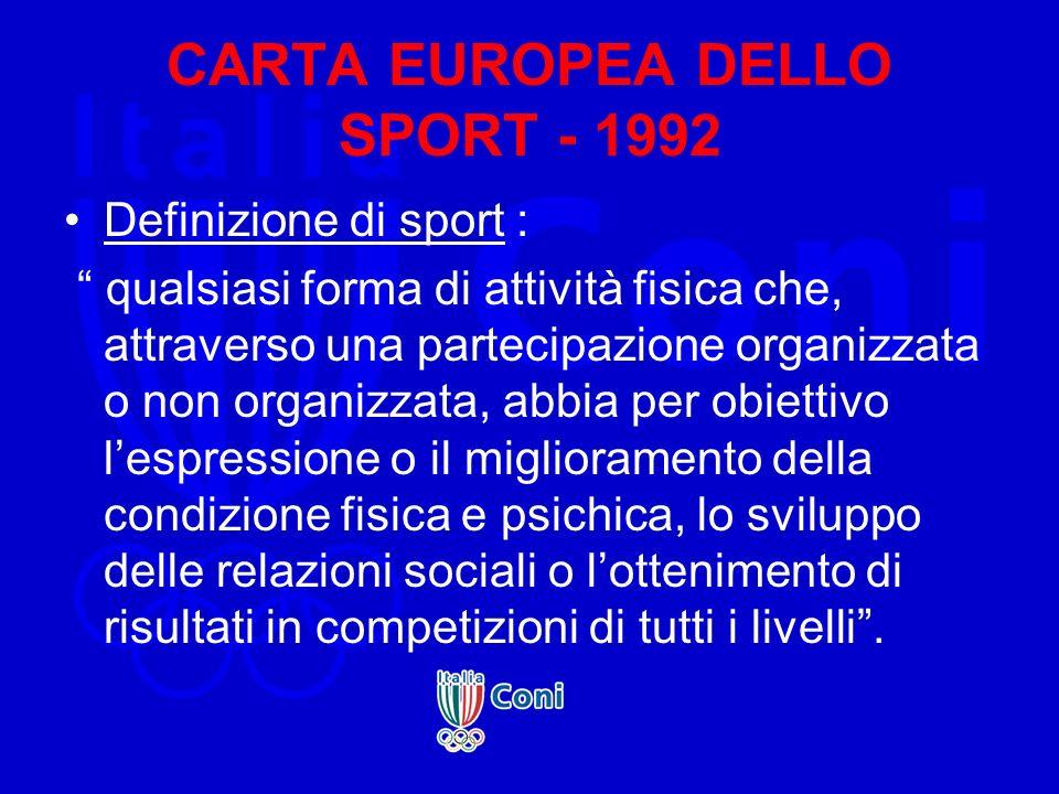 CARTA EUROPEA DELLO SPORT - 1992