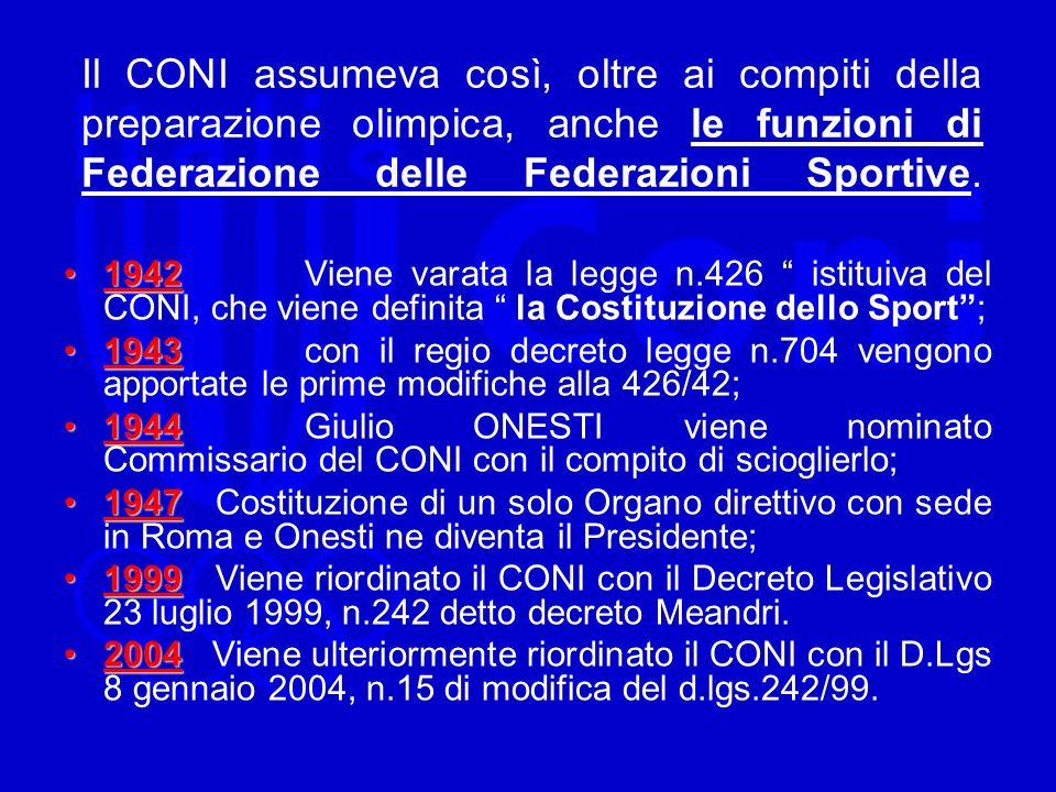Il CONI assumeva così, oltre ai compiti della preparazione olimpica, anche le funzioni di Federazione delle Federazioni Sportive.