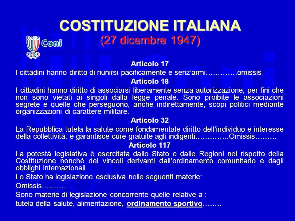 COSTITUZIONE ITALIANA (27 dicembre 1947)