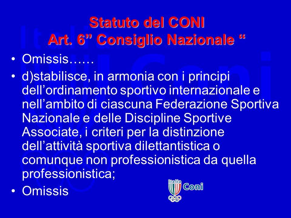 Statuto del CONI Art. 6 Consiglio Nazionale
