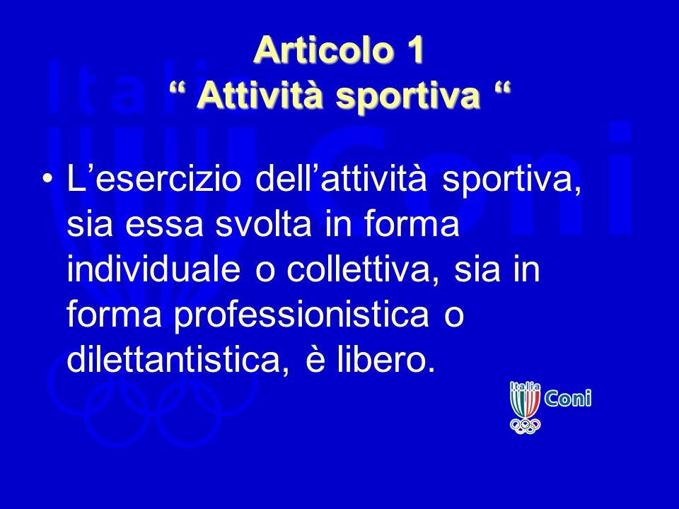 Articolo 1 Attività sportiva