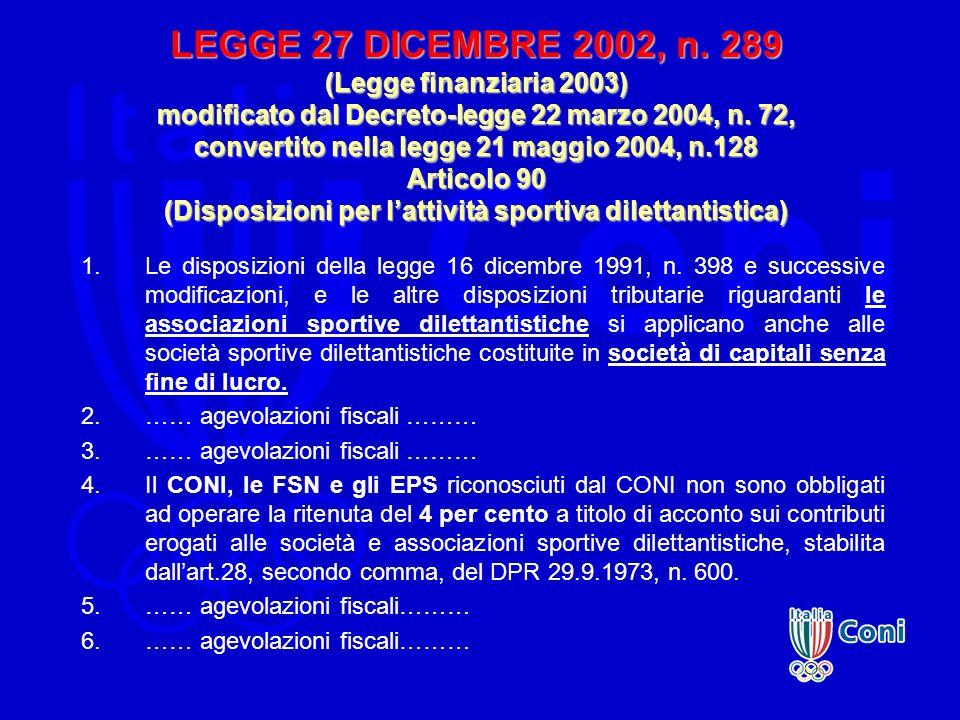 LEGGE 27 DICEMBRE 2002, n. 289 (Legge finanziaria 2003) modificato dal Decreto-legge 22 marzo 2004, n. 72, convertito nella legge 21 maggio 2004, n.128 Articolo 90 (Disposizioni per l'attività sportiva dilettantistica)