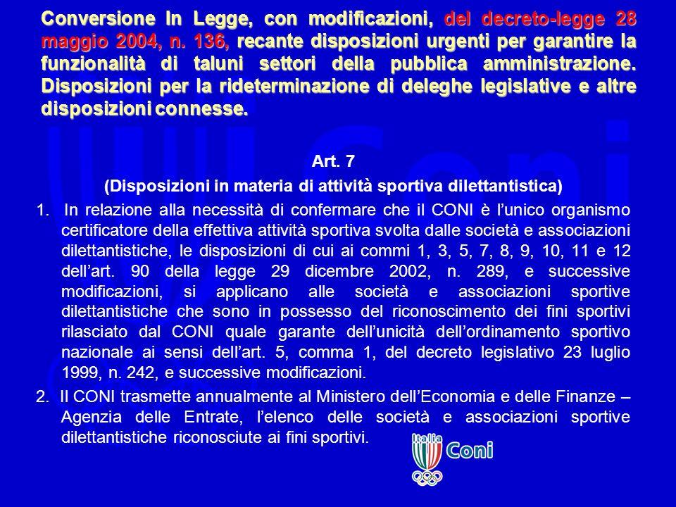 (Disposizioni in materia di attività sportiva dilettantistica)