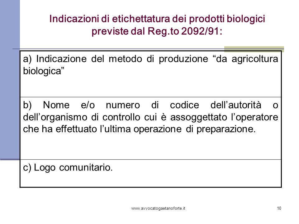 Indicazioni di etichettatura dei prodotti biologici previste dal Reg