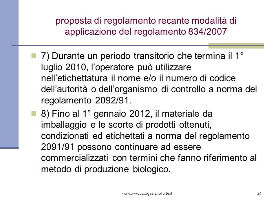 proposta di regolamento recante modalità di applicazione del regolamento 834/2007