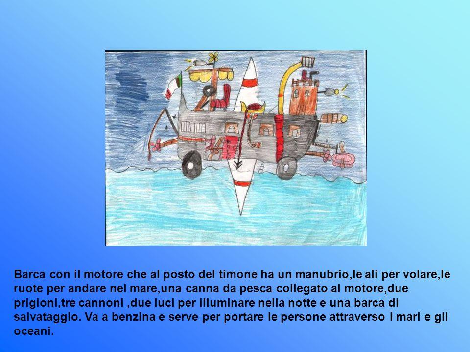 Barca con il motore che al posto del timone ha un manubrio,le ali per volare,le ruote per andare nel mare,una canna da pesca collegato al motore,due prigioni,tre cannoni ,due luci per illuminare nella notte e una barca di salvataggio.