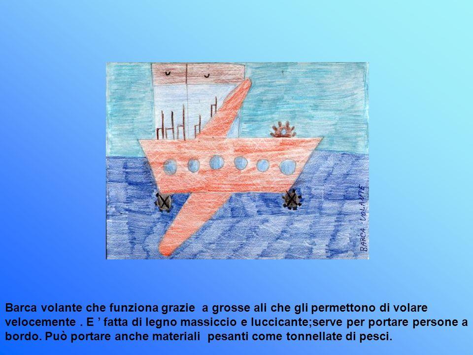 Barca volante che funziona grazie a grosse ali che gli permettono di volare velocemente .