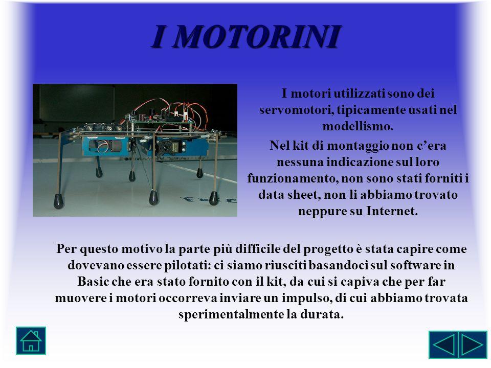 I MOTORINI I motori utilizzati sono dei servomotori, tipicamente usati nel modellismo.