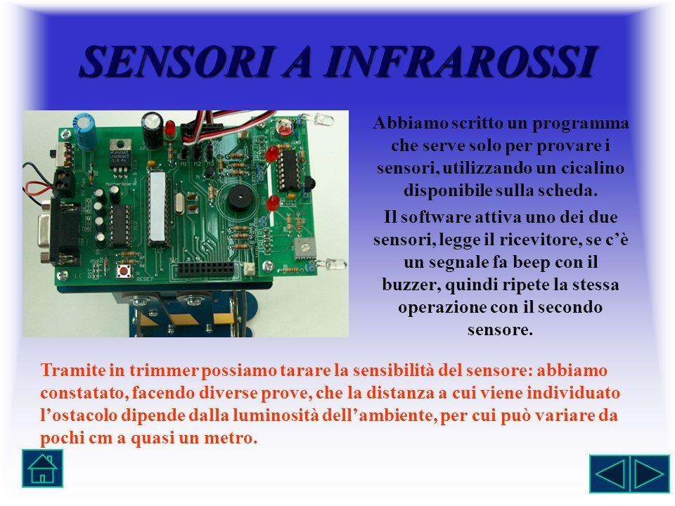 SENSORI A INFRAROSSI Abbiamo scritto un programma che serve solo per provare i sensori, utilizzando un cicalino disponibile sulla scheda.