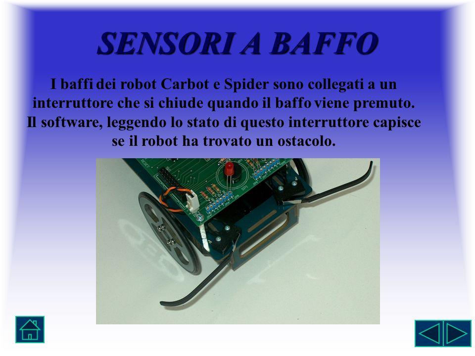 SENSORI A BAFFO I baffi dei robot Carbot e Spider sono collegati a un interruttore che si chiude quando il baffo viene premuto.