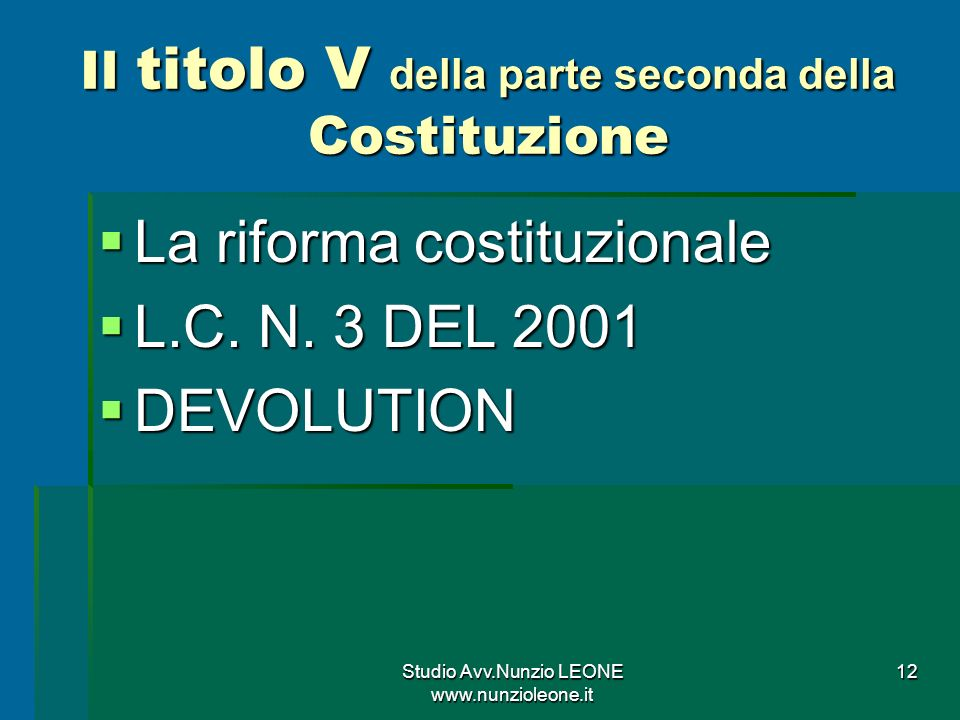 Il titolo V della parte seconda della Costituzione