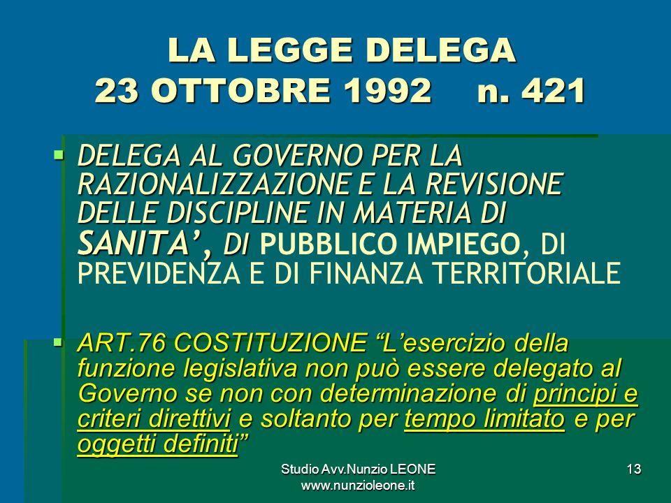 LA LEGGE DELEGA 23 OTTOBRE 1992 n. 421