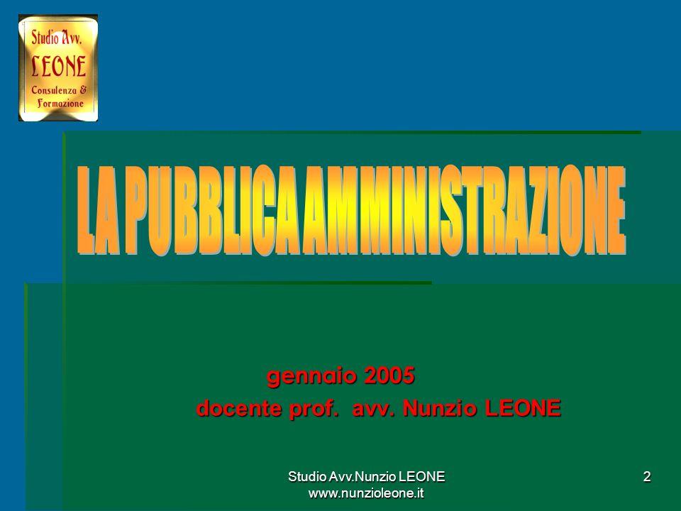 gennaio 2005 docente prof. avv. Nunzio LEONE