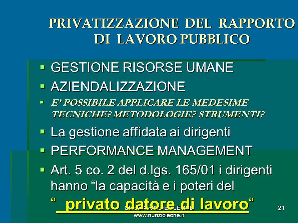 PRIVATIZZAZIONE DEL RAPPORTO DI LAVORO PUBBLICO