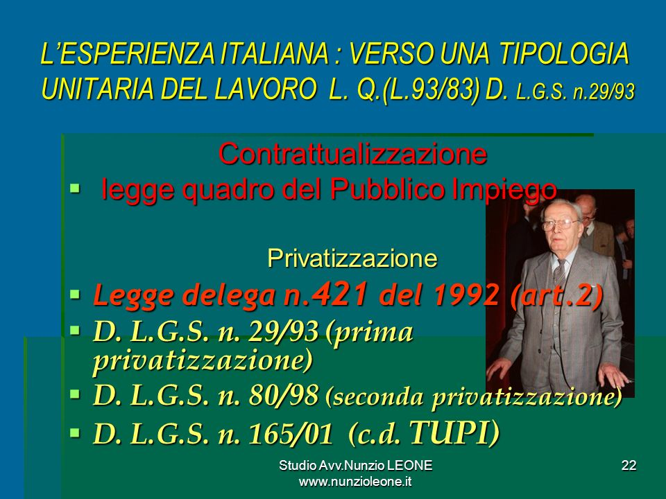 Contrattualizzazione legge quadro del Pubblico Impiego