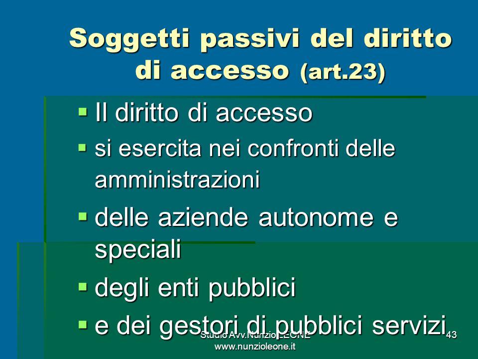 Soggetti passivi del diritto di accesso (art.23)
