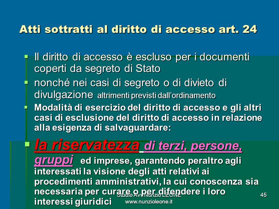 Atti sottratti al diritto di accesso art. 24