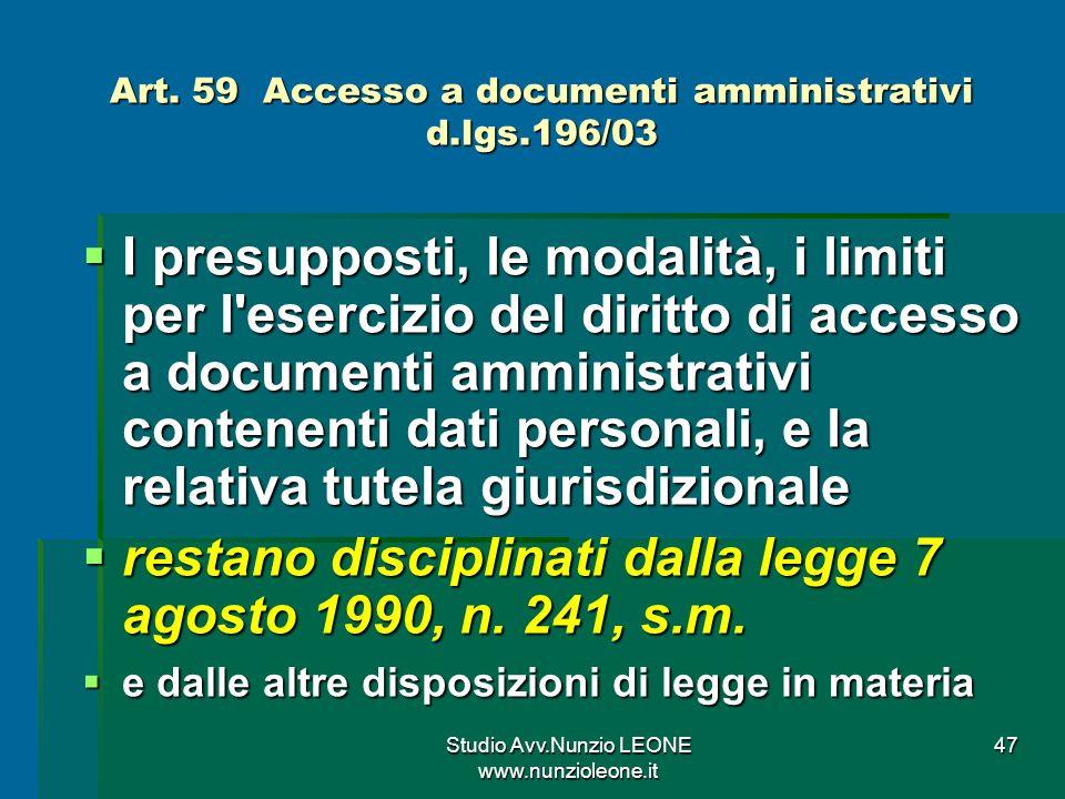 Art. 59 Accesso a documenti amministrativi d.lgs.196/03