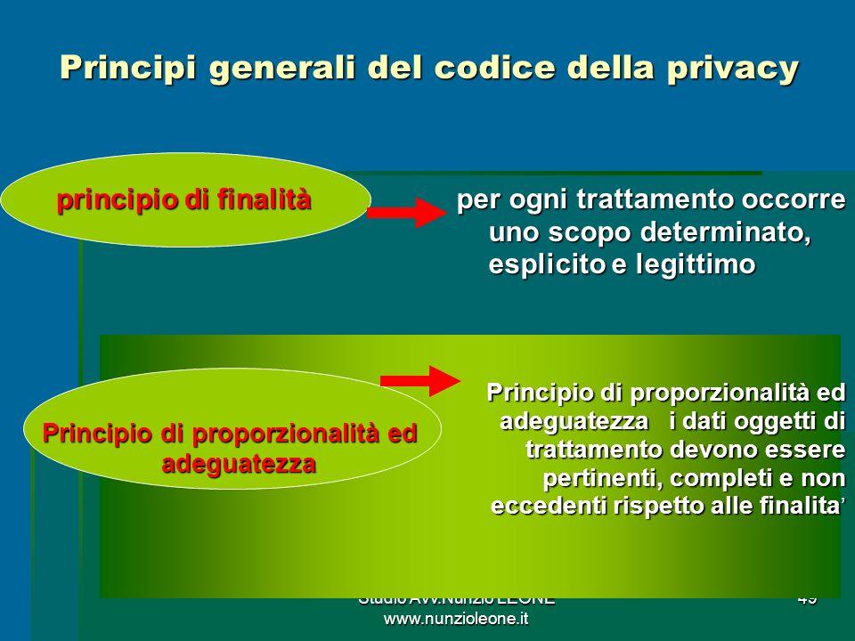 Principi generali del codice della privacy