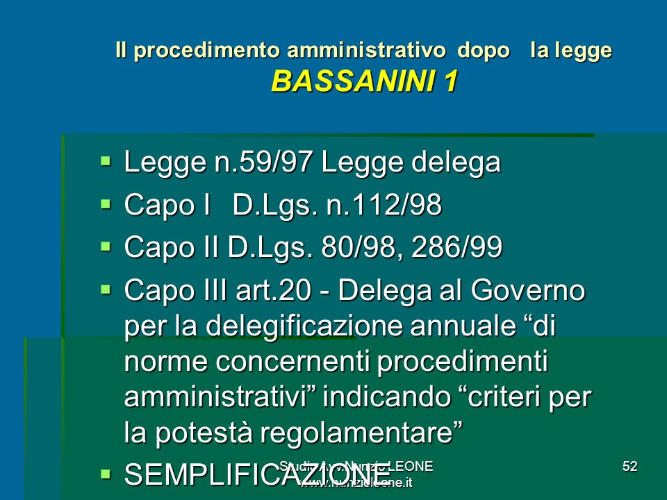 Il procedimento amministrativo dopo la legge BASSANINI 1