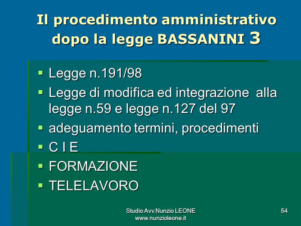 Il procedimento amministrativo dopo la legge BASSANINI 3