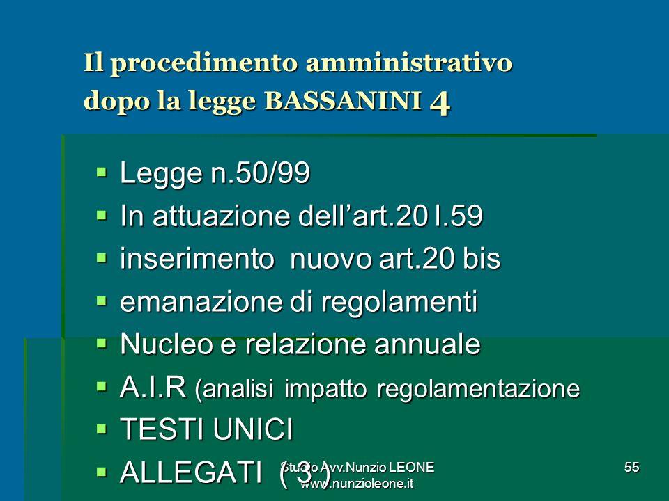 Il procedimento amministrativo dopo la legge BASSANINI 4