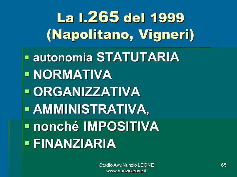 La l.265 del 1999 (Napolitano, Vigneri)