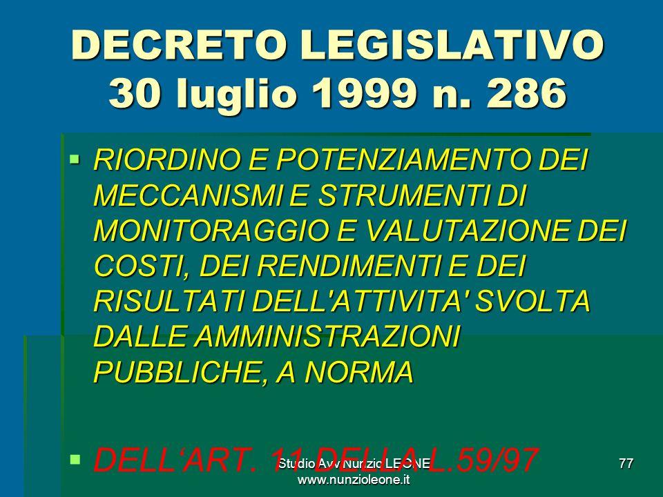 DECRETO LEGISLATIVO 30 luglio 1999 n. 286