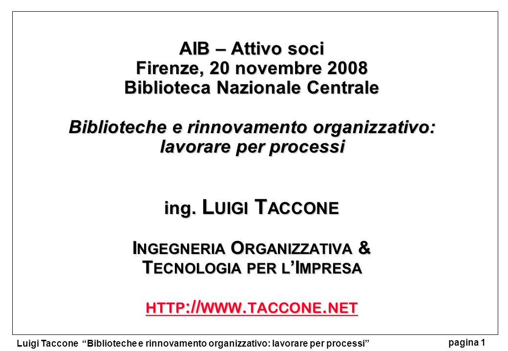 AIB – Attivo soci Firenze, 20 novembre 2008 Biblioteca Nazionale Centrale Biblioteche e rinnovamento organizzativo: lavorare per processi ing.
