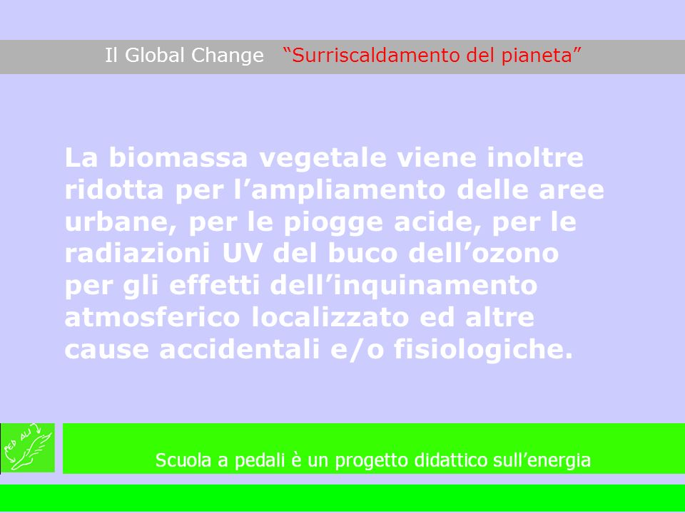 Il Global Change Surriscaldamento del pianeta