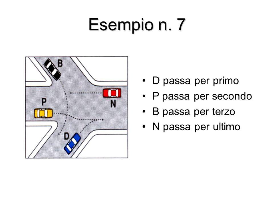 Esempio n. 7 D passa per primo P passa per secondo B passa per terzo