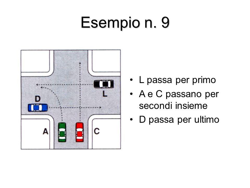 Esempio n. 9 L passa per primo A e C passano per secondi insieme