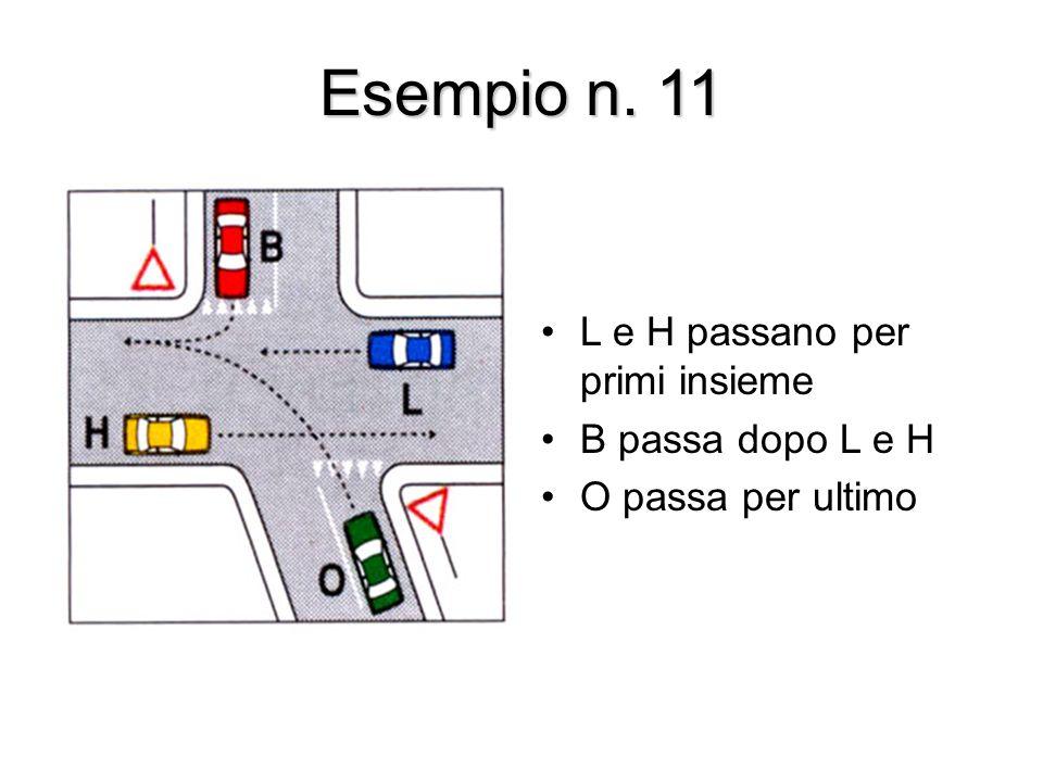 Esempio n. 11 L e H passano per primi insieme B passa dopo L e H