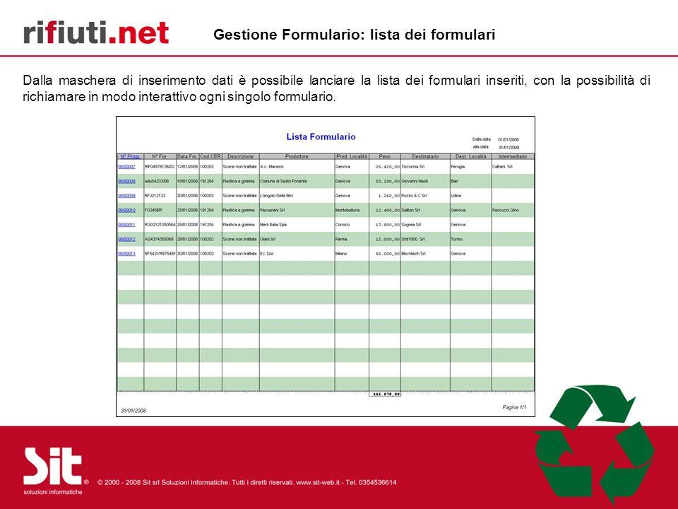 Gestione Formulario: lista dei formulari