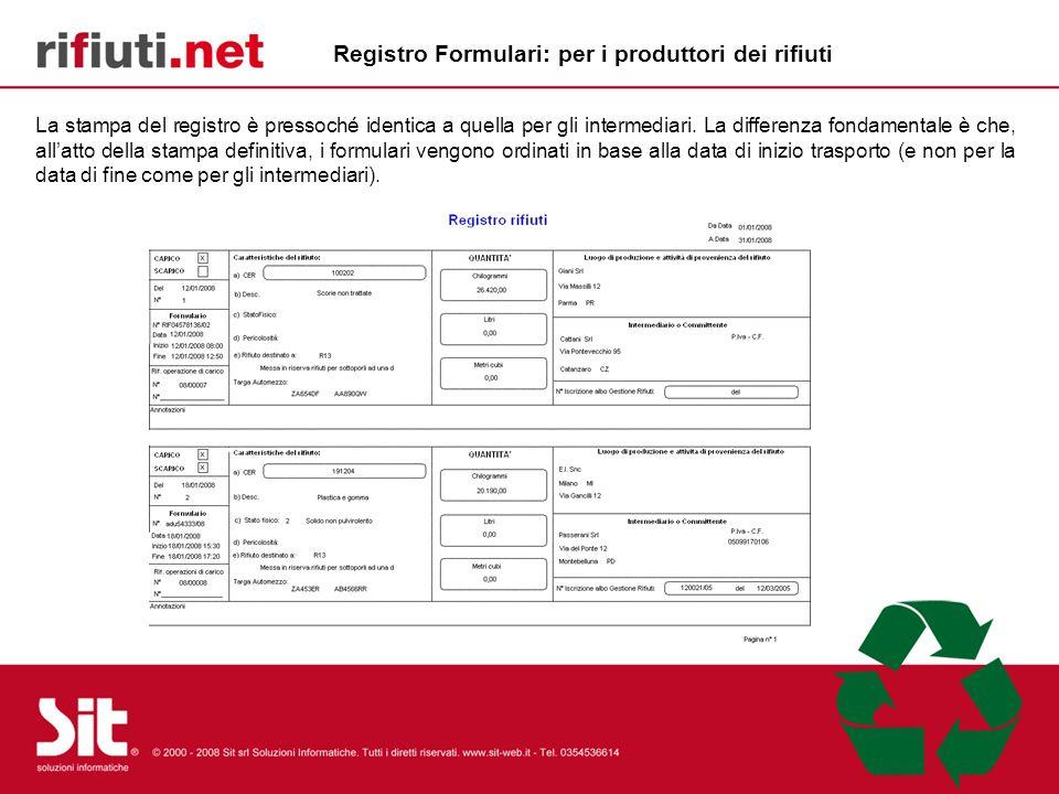 Registro Formulari: per i produttori dei rifiuti