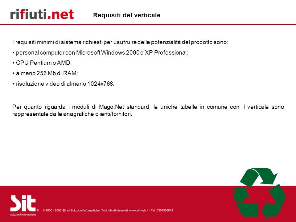 Requisiti del verticale