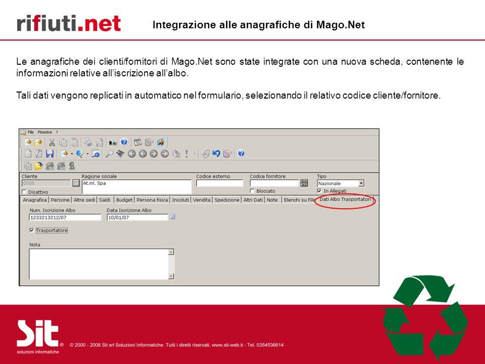 Integrazione alle anagrafiche di Mago.Net