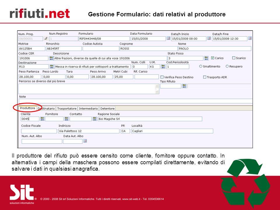 Gestione Formulario: dati relativi al produttore