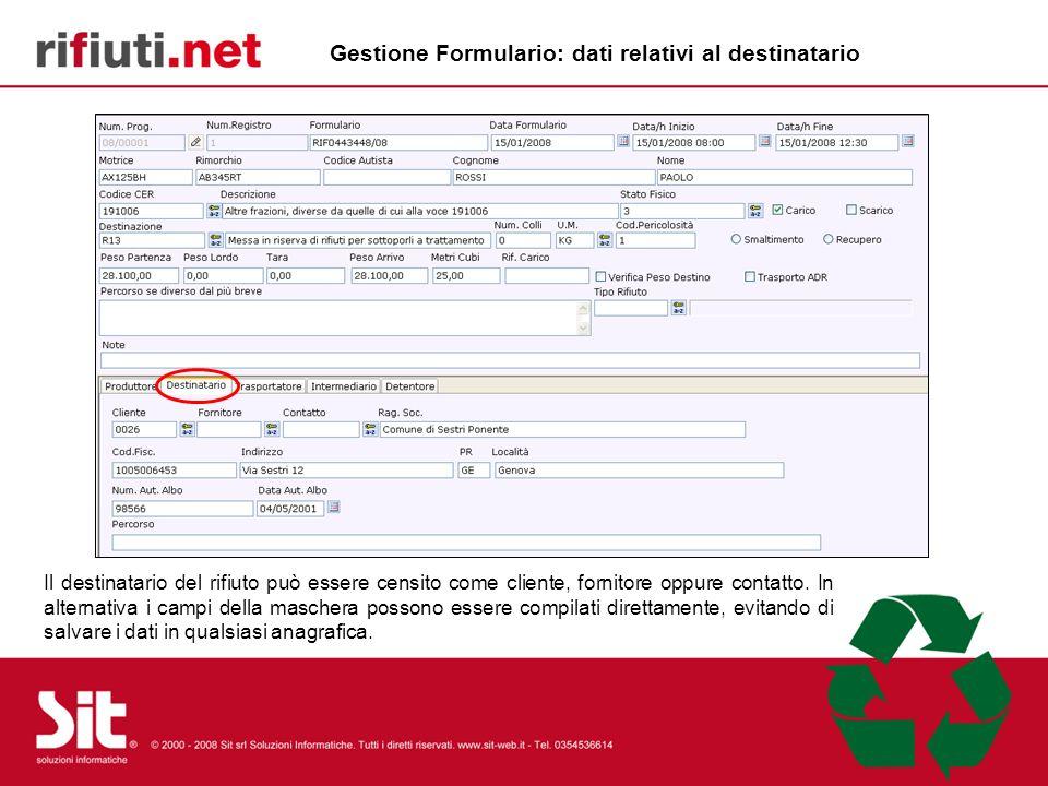 Gestione Formulario: dati relativi al destinatario