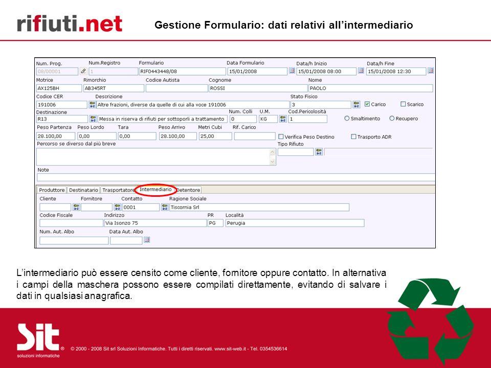 Gestione Formulario: dati relativi all'intermediario